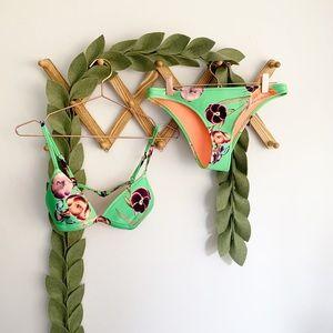 Triangl Green Floral Neoprene Bikini